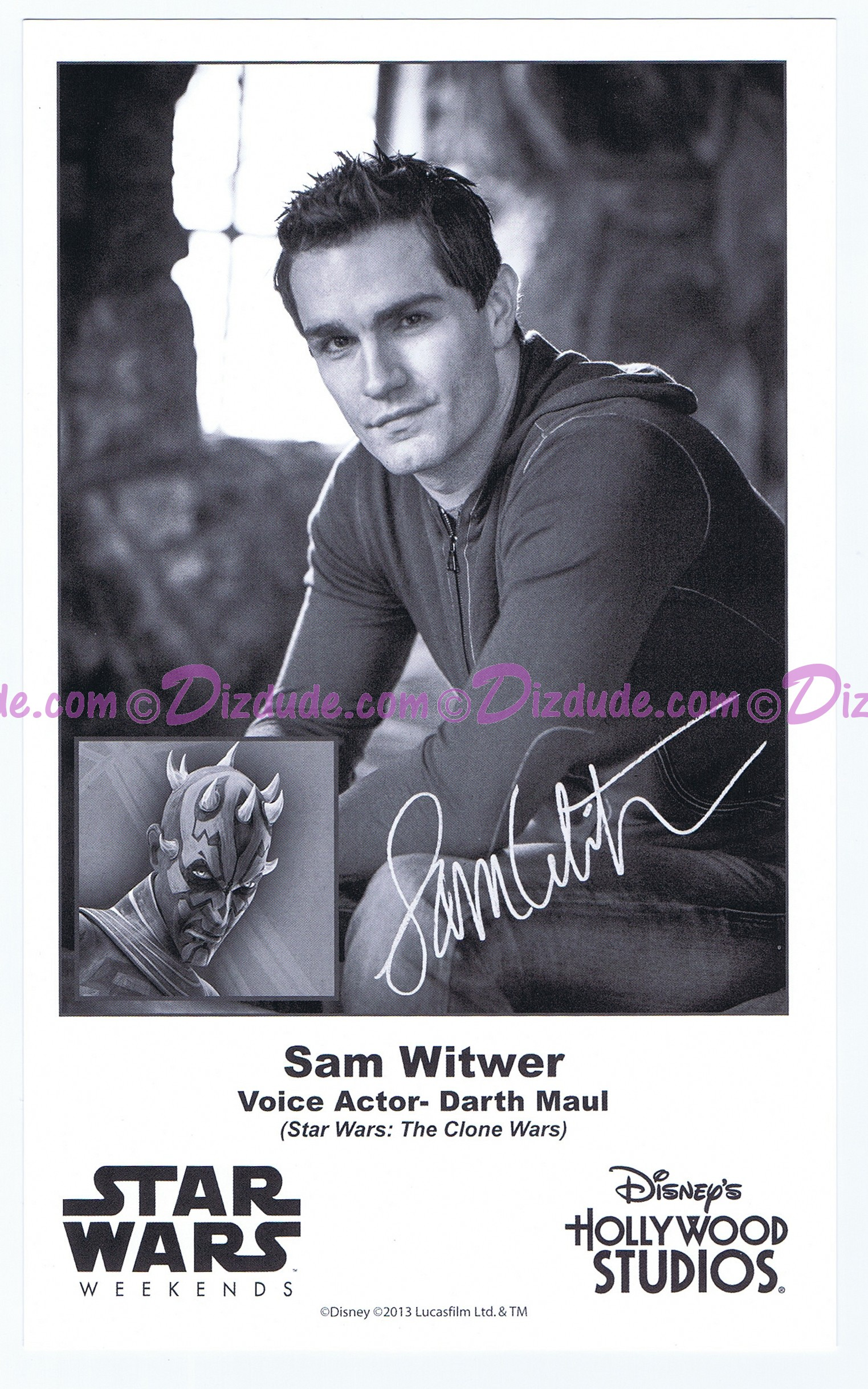 Sam Witwer the voice of Darth Maul Presigned Official Star Wars Weekends 2013 Celebrity Collector Photo