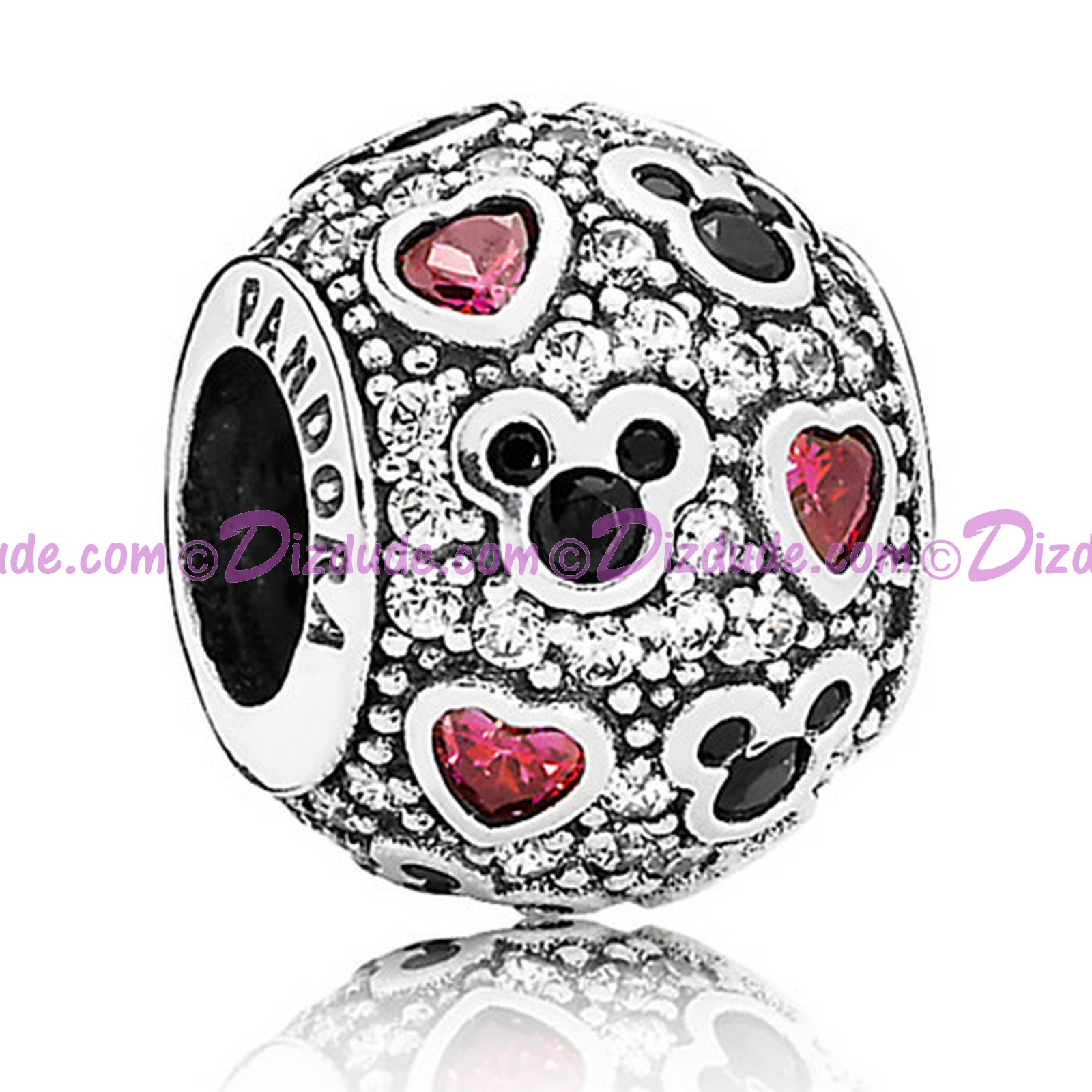 "Disney Pandora ""Sparkling Mickey & Hearts"" Sterling Silver Charm with Cubic Zirconias"