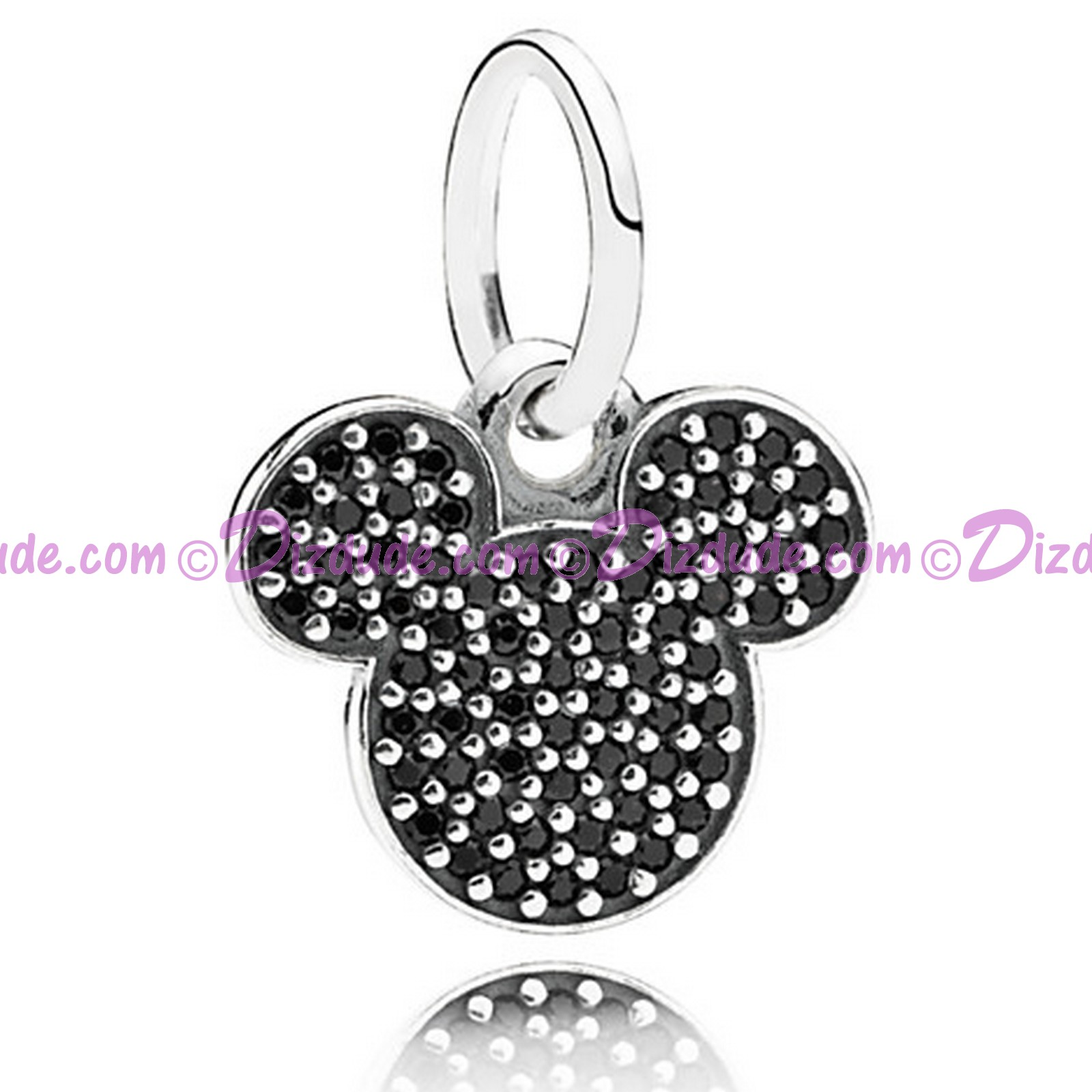 "Disney Pandora ""Sparkling Mickey Icon"" Sterling Charm with Black Crystals"