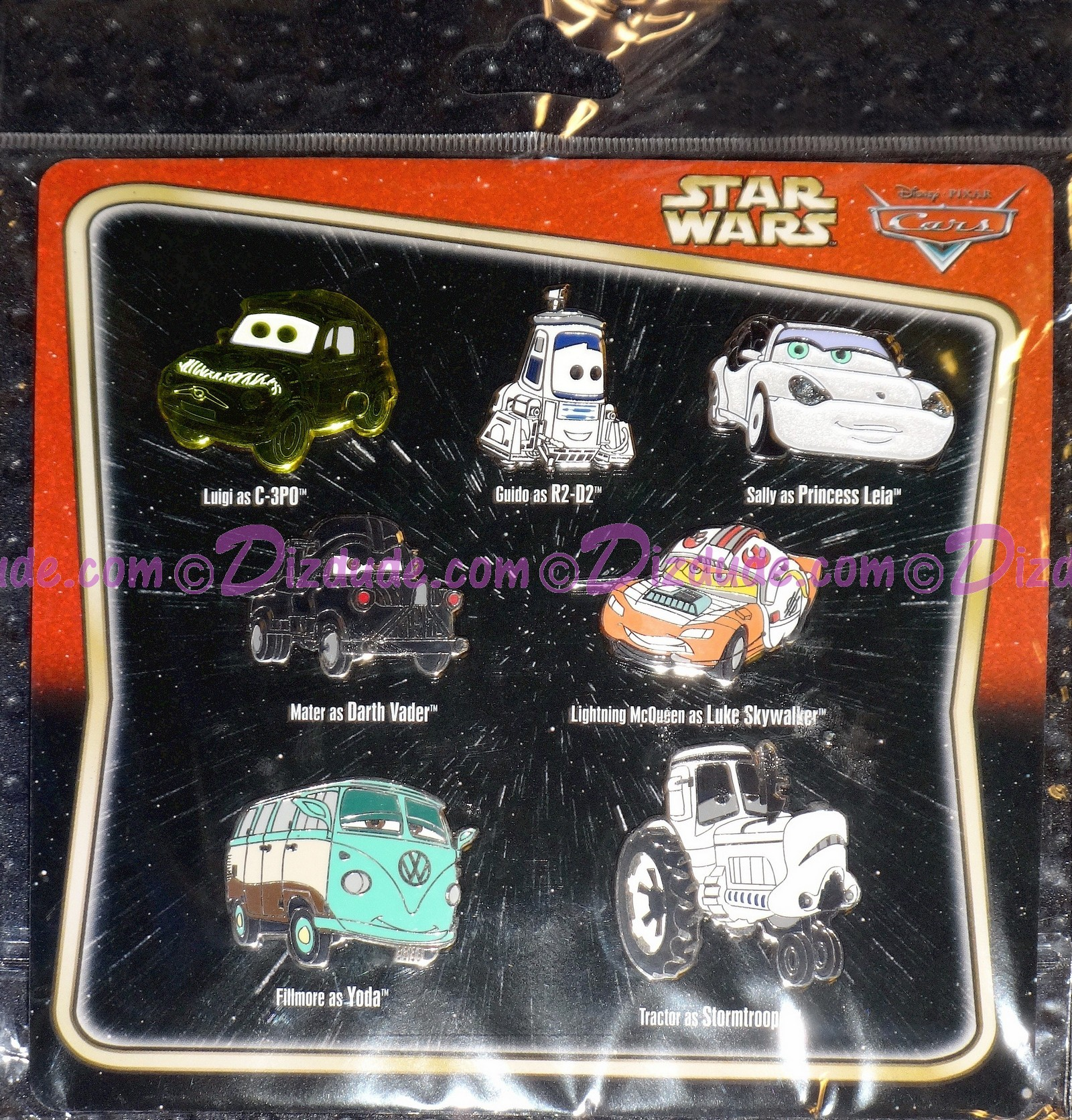 "Disney Pixar ""Cars"" as LucasFilms ""Star Wars"" Characters 7 Pin Set - Star Wars Weekends 2014 © Dizdude.com"