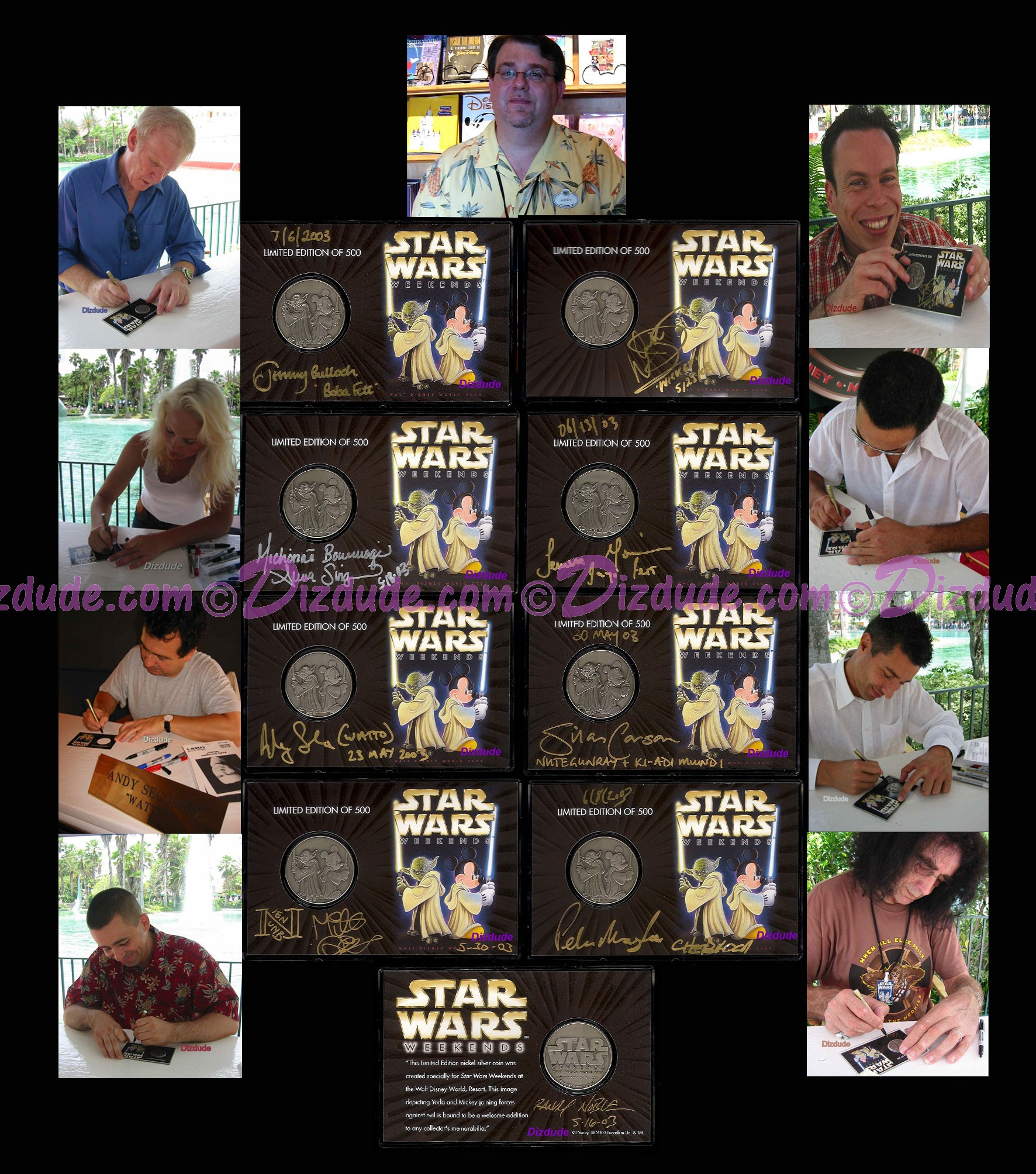 16 Autographs on Star Wars Weekends 2003 Nickel Silver 8 Coin Set ~ Signed by every guest Star Wars Actor & Disney artist who attended + photos + CoA