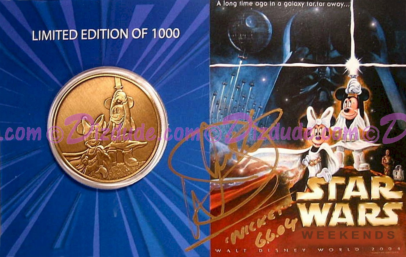 Disney Star Wars Weekends 2004 Bronze Coin LE1000 Signed by Warwick Davis (Wicket) and Disney artist Randy Noble