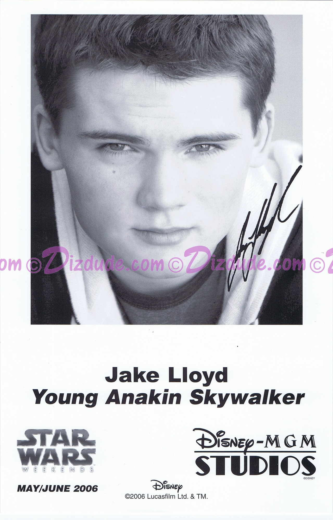 Jake Lloyd who played Young Anakin Skywalker Presigned Official Star Wars Weekends 2006 Celebrity Collector Photo