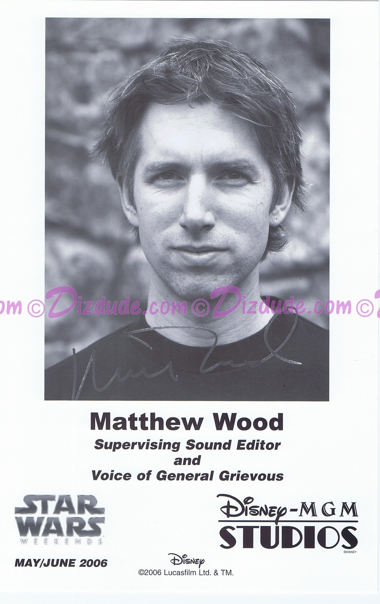 Matthew Wood the voice of General Grievous & Battle Droids Presigned Official Star Wars Weekends 2006 Celebrity Collector Photo