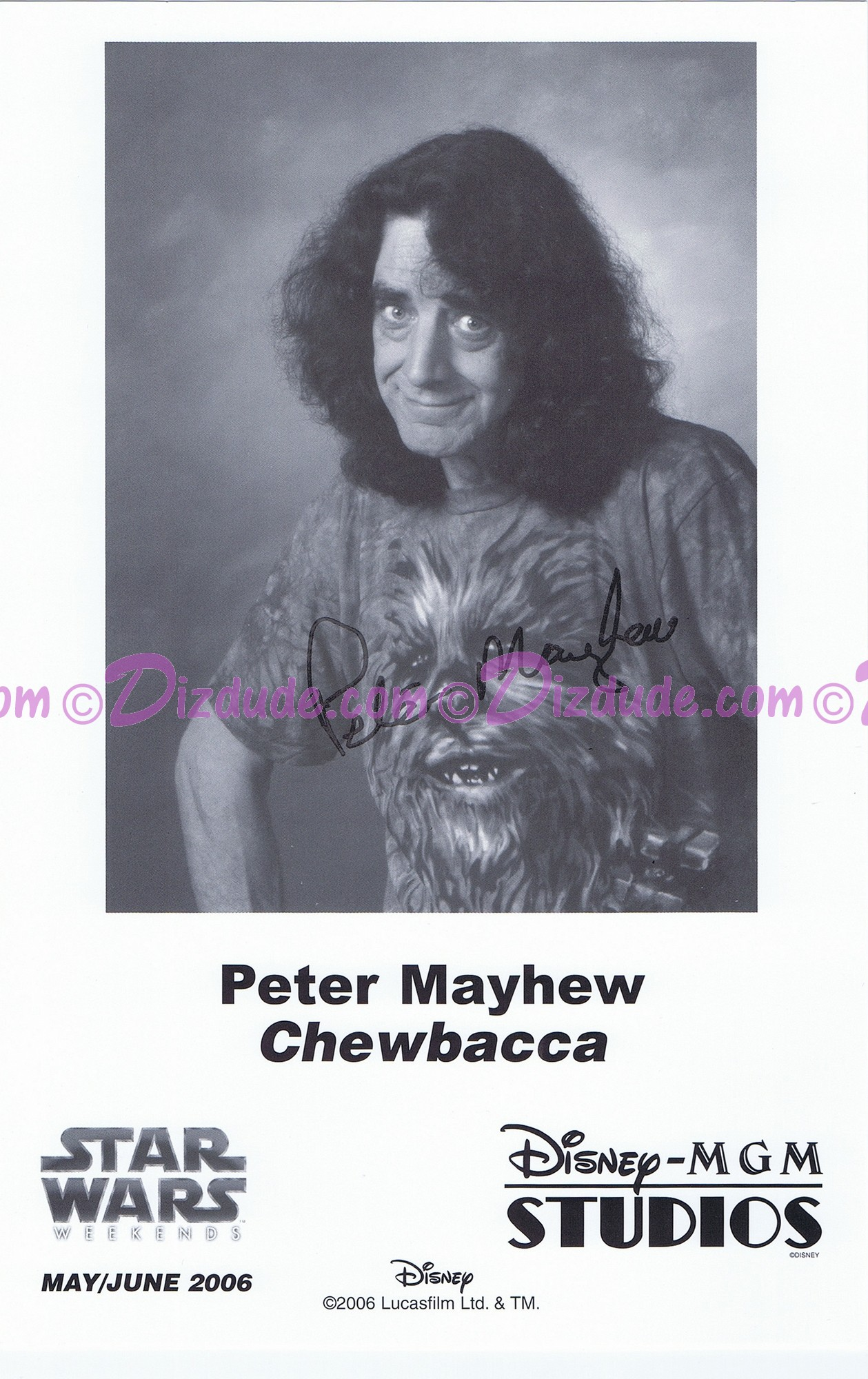Peter Mayhew who played Chewbacca Presigned Official Star Wars Weekends 2006 Celebrity Collector Photo