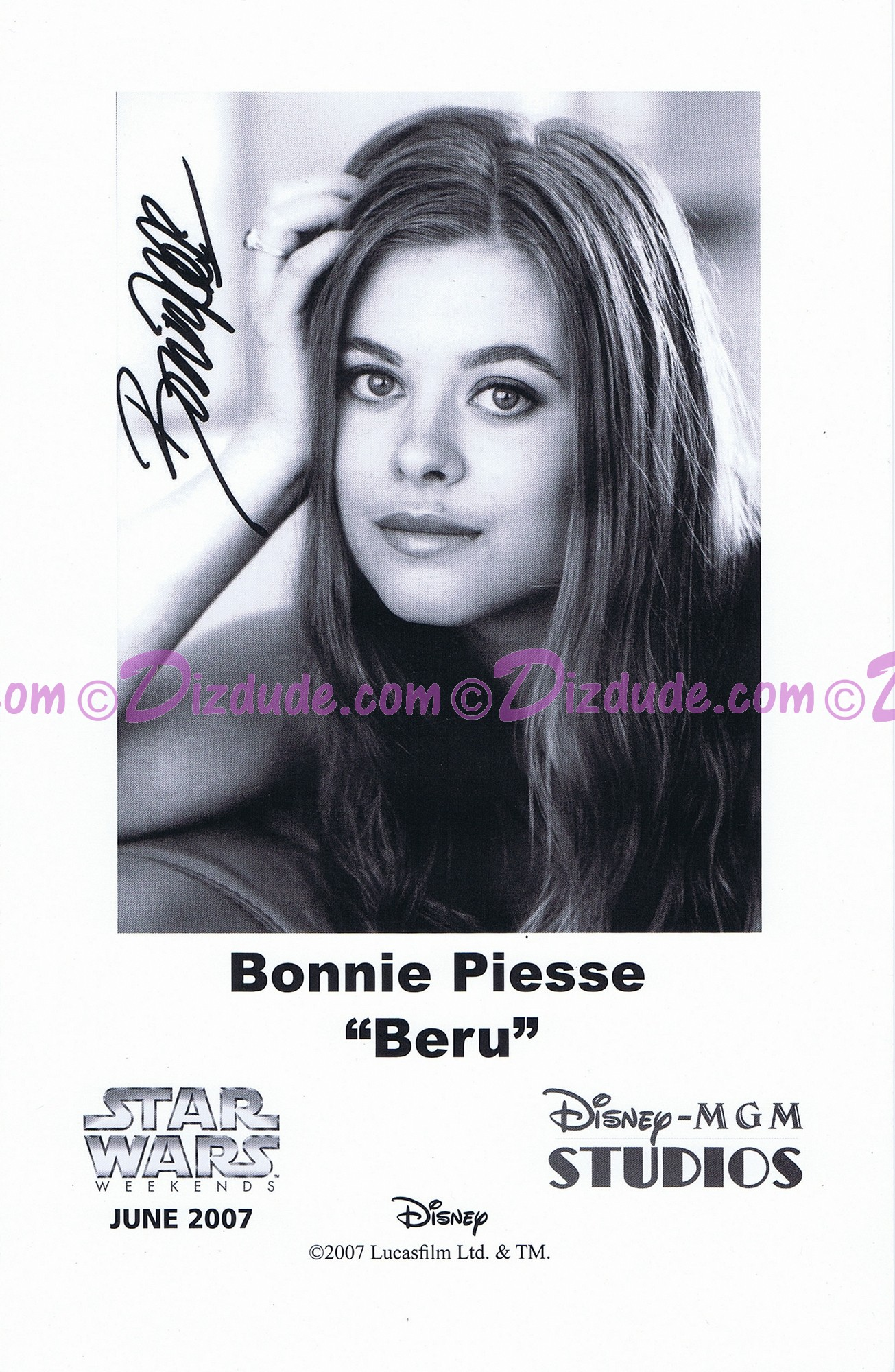 Bonnie Piesse who played Beru Presigned Official Star Wars Weekends 2007 Celebrity Collector Photo