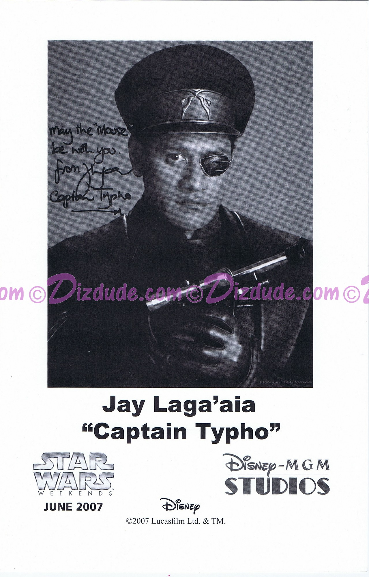 Jay Laga'aia who played Captain Gregar Typho Presigned Official Star Wars Weekends 2007 Celebrity Collector Photo