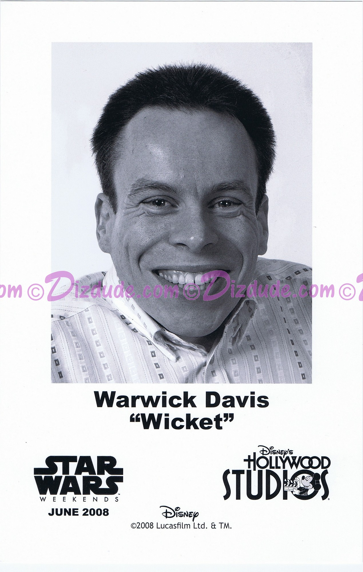 Warwick Davis who played The Ewok Wicket W. Warrick Presigned Official Star Wars Weekends 2008 Celebrity Collector Photo