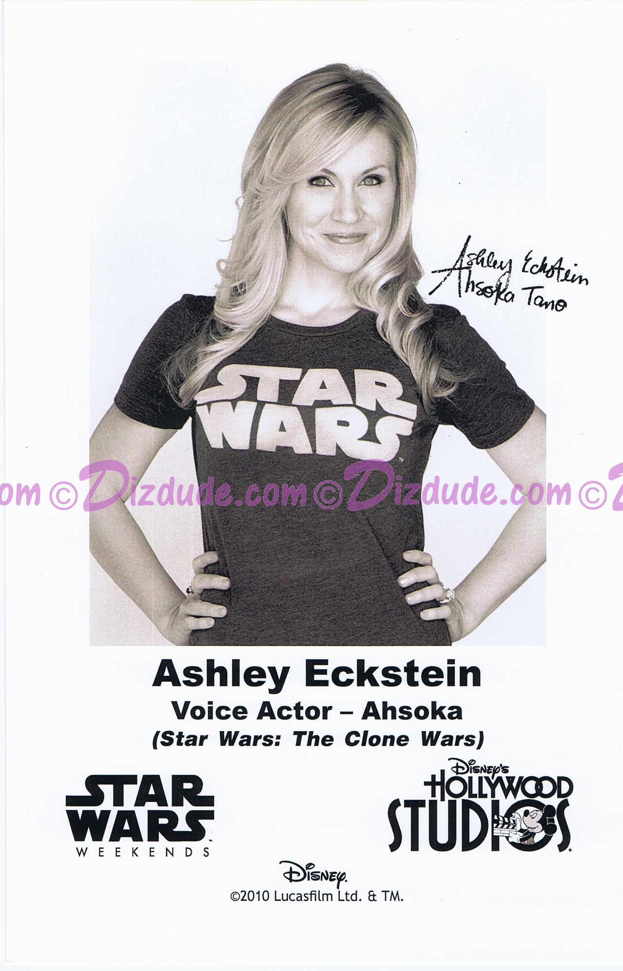 Ashley Eckstein the voice of Ahsoka Tano Presigned Official Star Wars Weekends 2010 Celebrity Collector Photo
