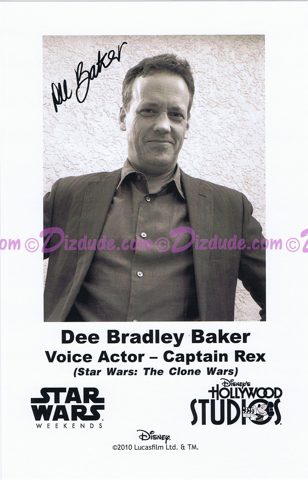 Dee Bradley Baker the voice of Captain Rex Presigned Official Star Wars Weekends 2010 Celebrity Collector Photo