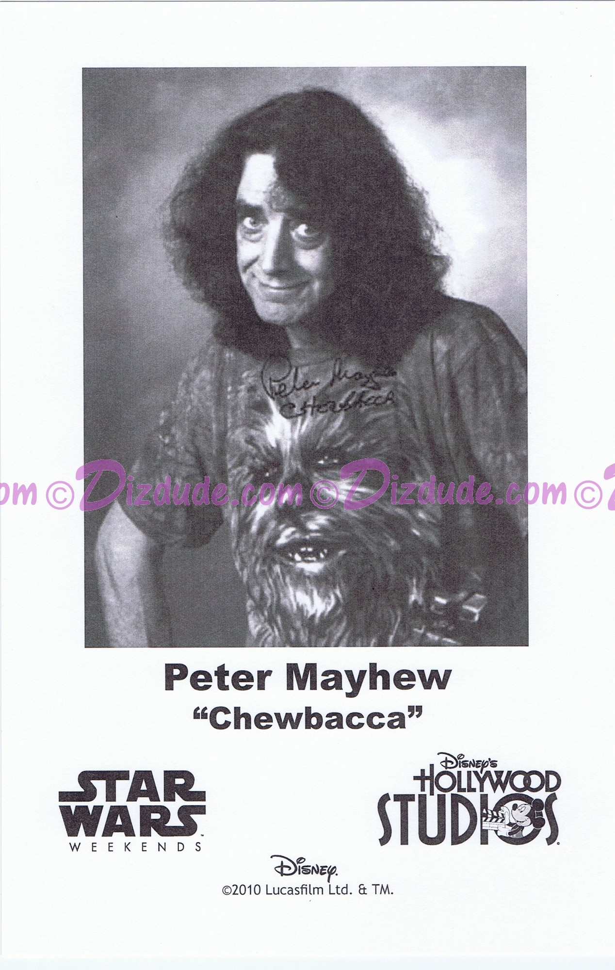 Peter Mayhew who played Chewbacca Presigned Official Star Wars Weekends 2010 Celebrity Collector Photo