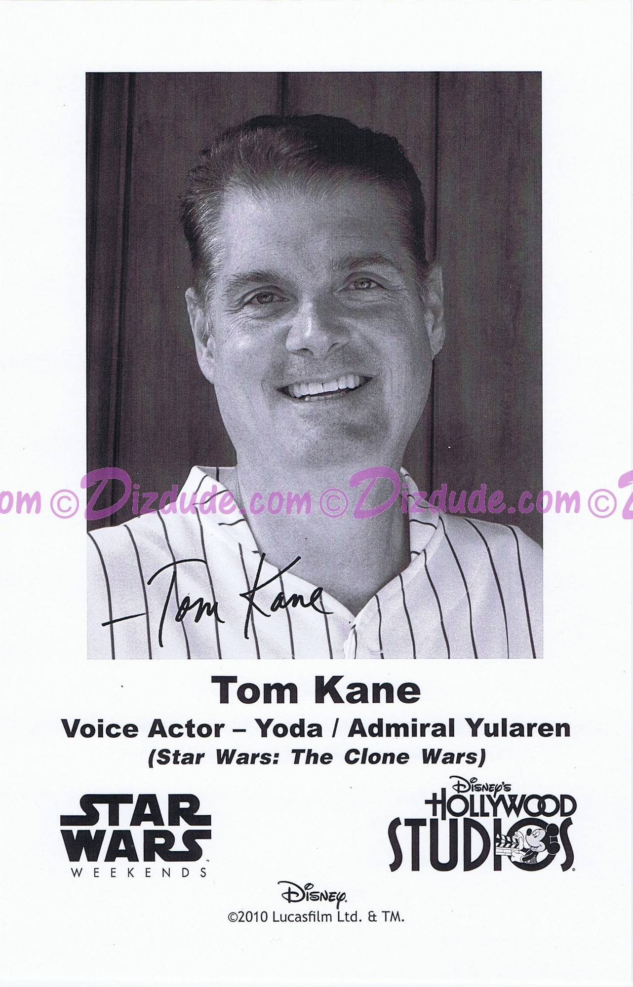 Tom Kane the voice of Yoda & Admiral Yularen Presigned Official Star Wars Weekends 2010 Celebrity Collector Photo