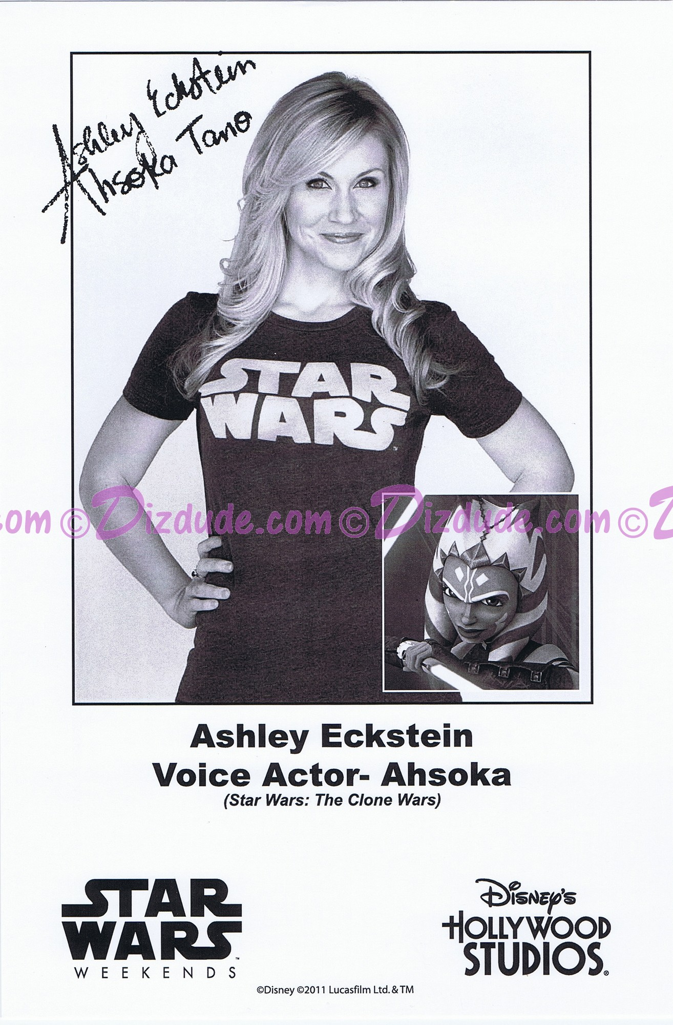 Ashley Eckstein the voice of Ahsoka Tano Presigned Official Star Wars Weekends 2011 Celebrity Collector Photo