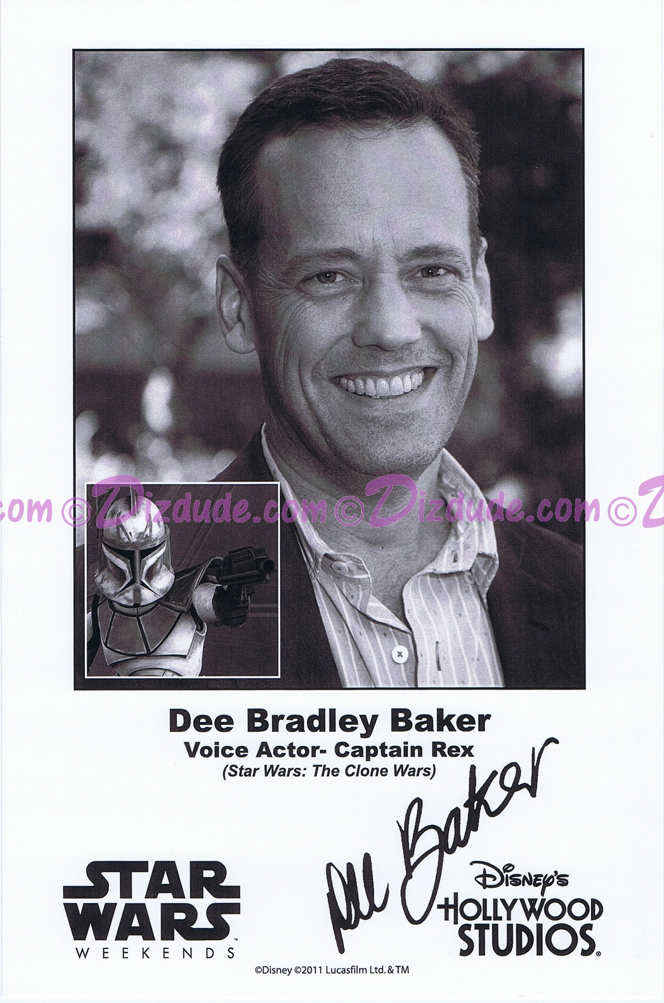 Dee Bradley Baker the voice of Captain Rex Presigned Official Star Wars Weekends 2011 Celebrity Collector Photo