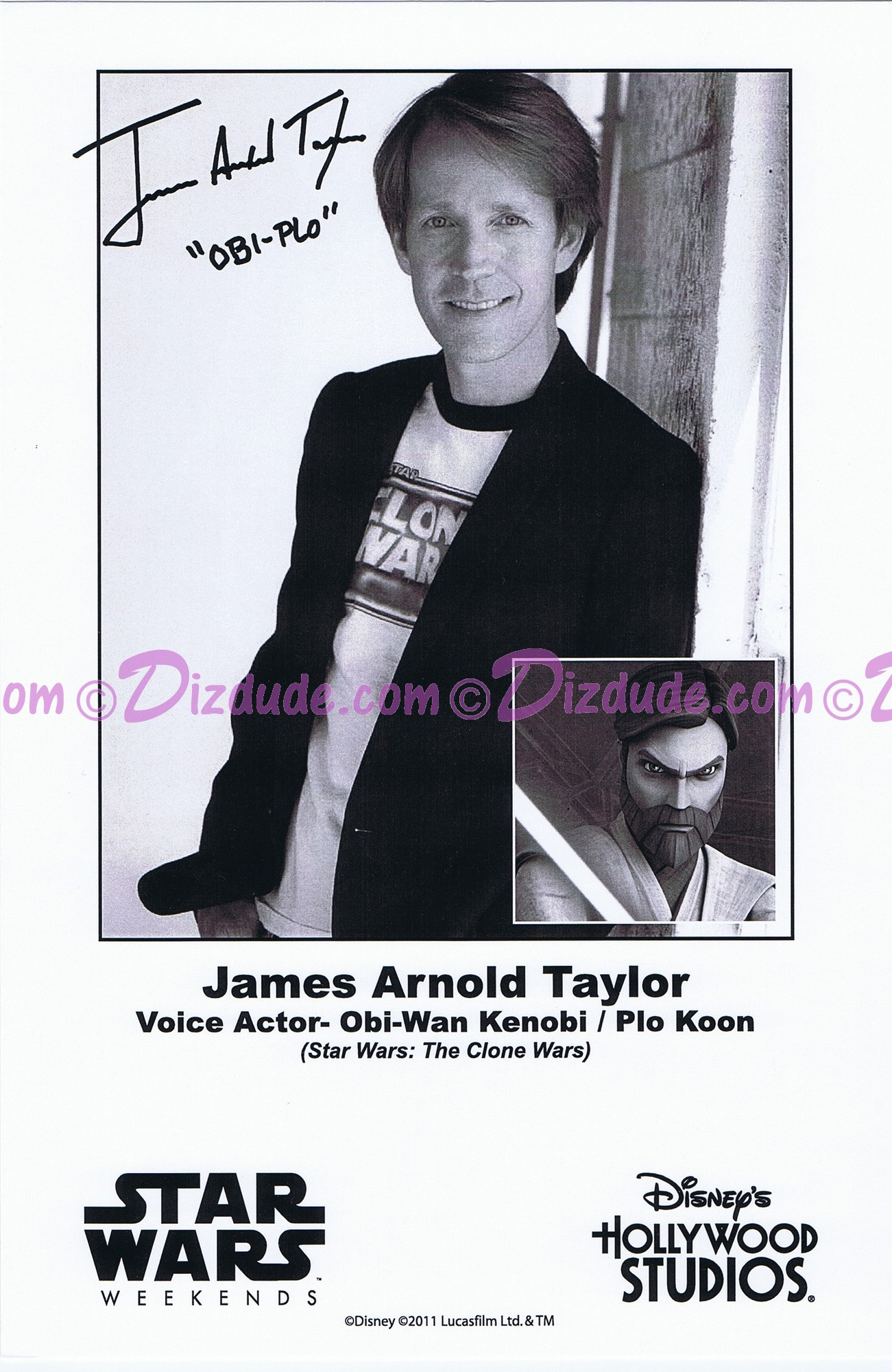 James Arnold Taylor (JAT) the voice of Obi-Wan Kanobi & Plo Koon Presigned Official Star Wars Weekends 2011 Celebrity Collector Photo