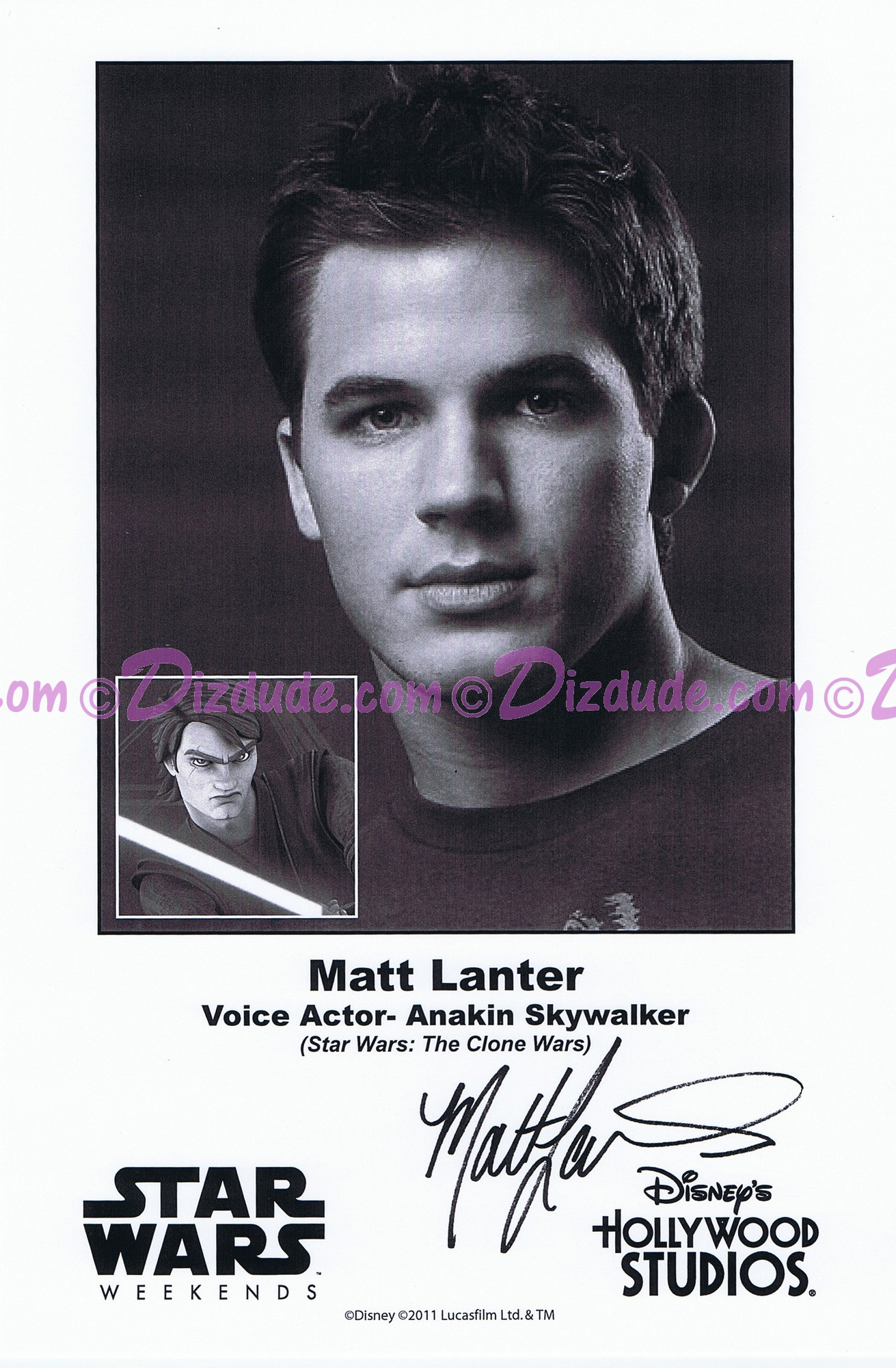 Matt Lanter the voice of Anakin Skywalker Presigned Official Star Wars Weekends 2011 Celebrity Collector Photo