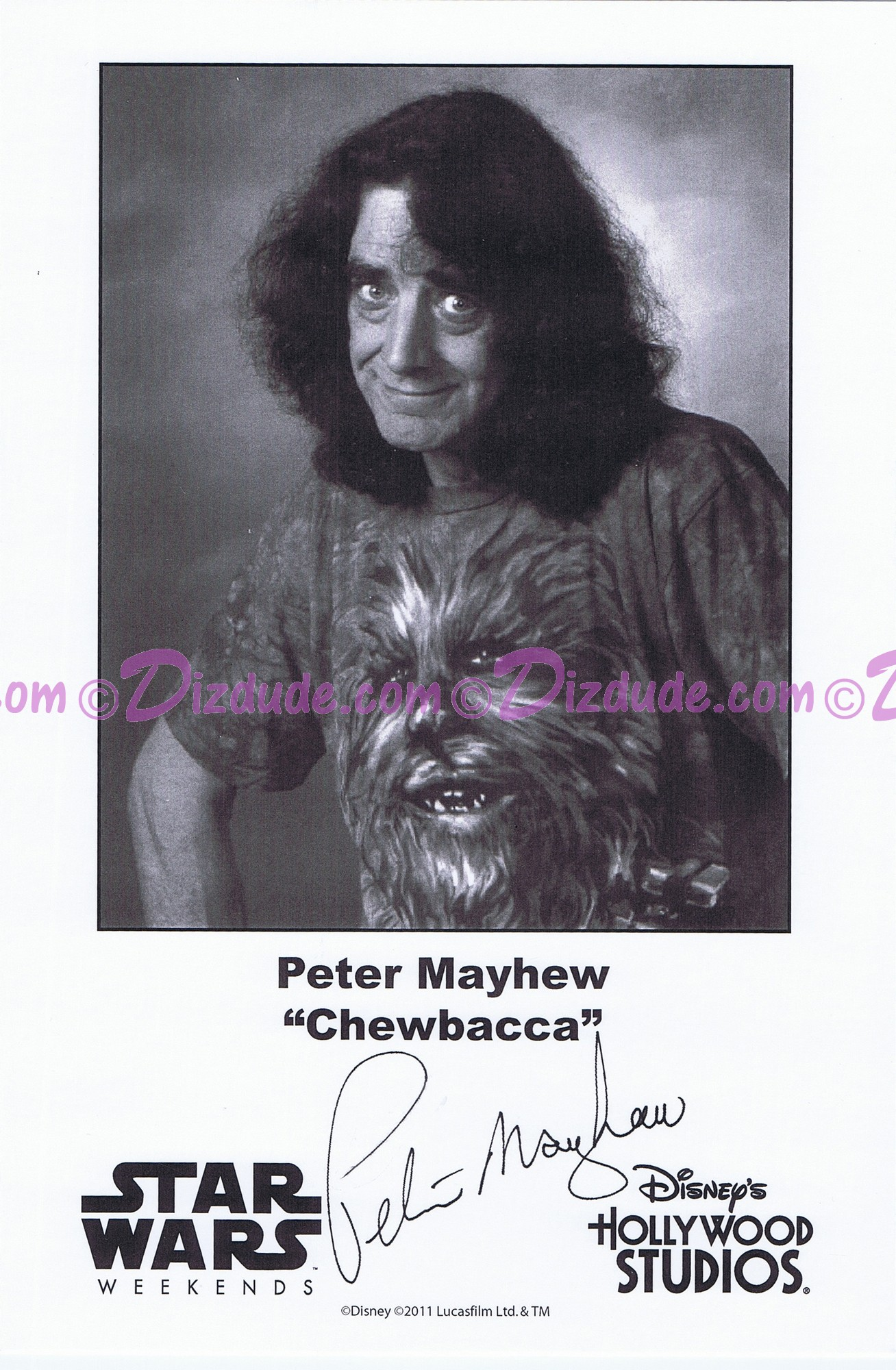 Peter Mayhew who played Chewbacca Presigned Official Star Wars Weekends 2011 Celebrity Collector Photo
