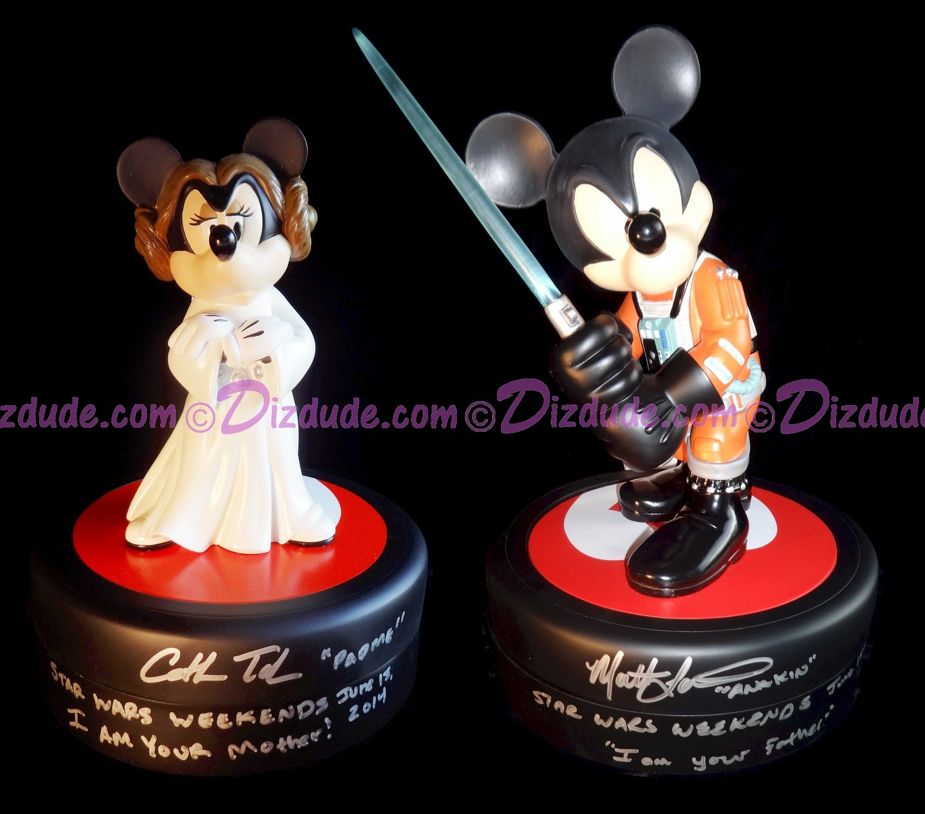 RARE Autographed Set of 1st Disney Star Wars Weekends 2011 Med. Big Figs ~ Mickey Mouse as Jedi Mickey X-Wing Pilot Signed by Matt Lanter & Minnie Mouse as Princess Leia Signed by Cat Taber Both With Pin of LE 1977 & Signed by Costa Alavezos © Dizdude.com