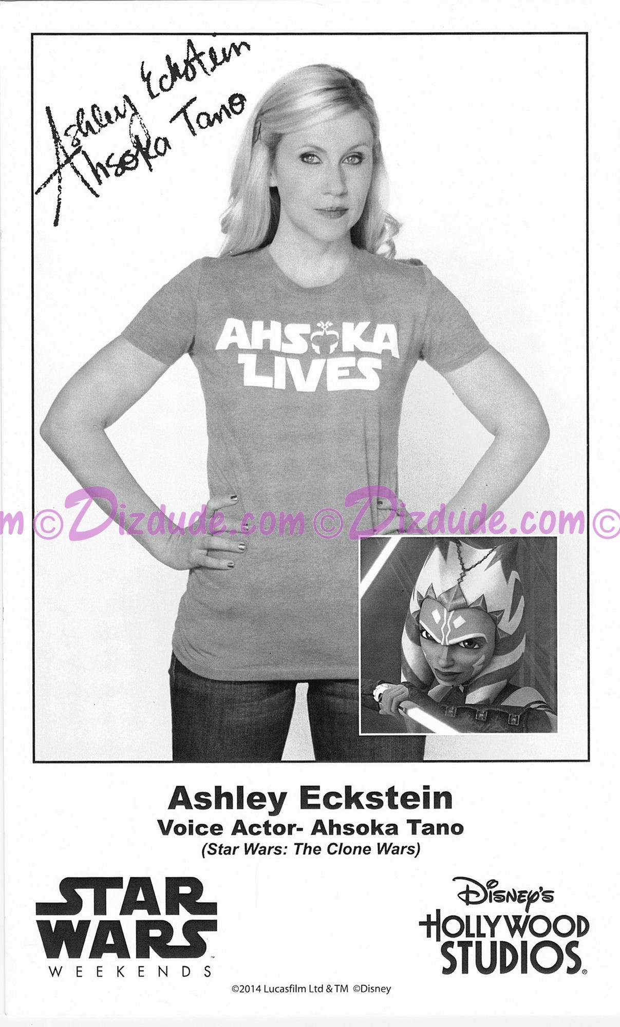 Ashley Eckstein the voice of Ahsoka Tano Presigned Official Star Wars Weekends 2014 Celebrity Collector Photo