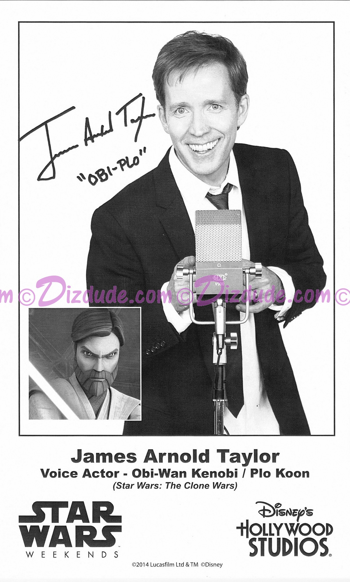 James Arnold Taylor (JAT) the voice of Obi-Wan Kanobi & Plo Koon Presigned Official Star Wars Weekends 2014 Celebrity Collector Photo