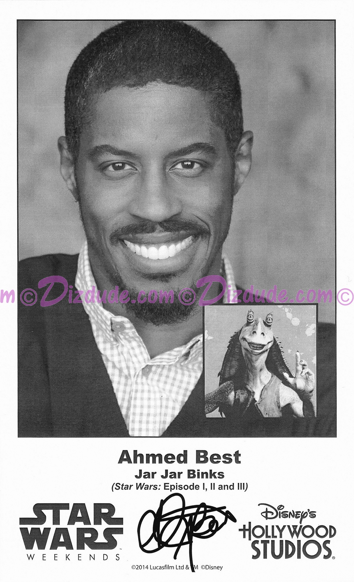 Ahmed Best who played Jar Jar Binks Presigned Official Star Wars Weekends 2014 Celebrity Collector Photo