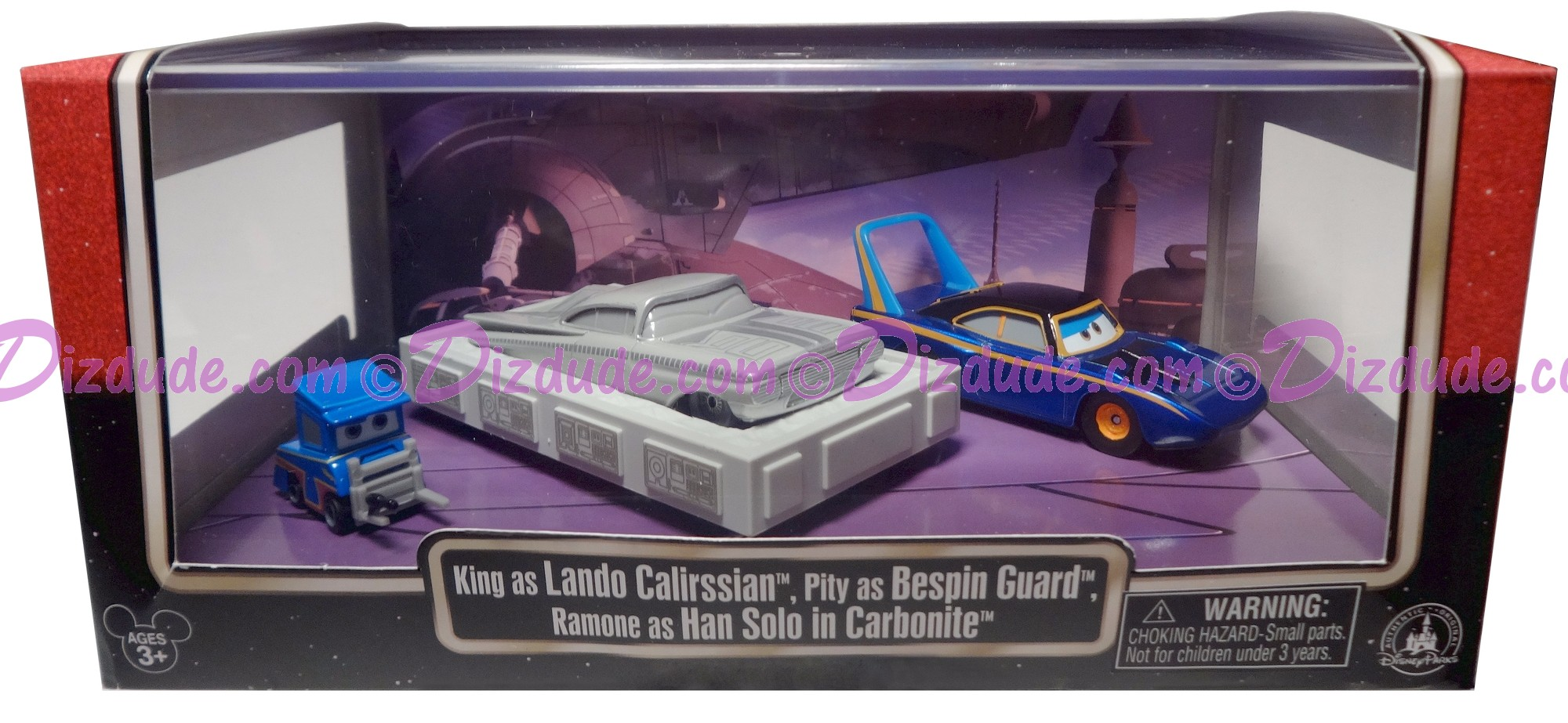 "Disney Pixar ""Cars"" as LucasFilm ""Star Wars"" King as Lando Calrissian, Ramone as Han Solo in Carbonite and Pittie as Guard (Deluxe Box Set of 3) - Series 3 ~ Exclusive Star Wars Weekends 2015"