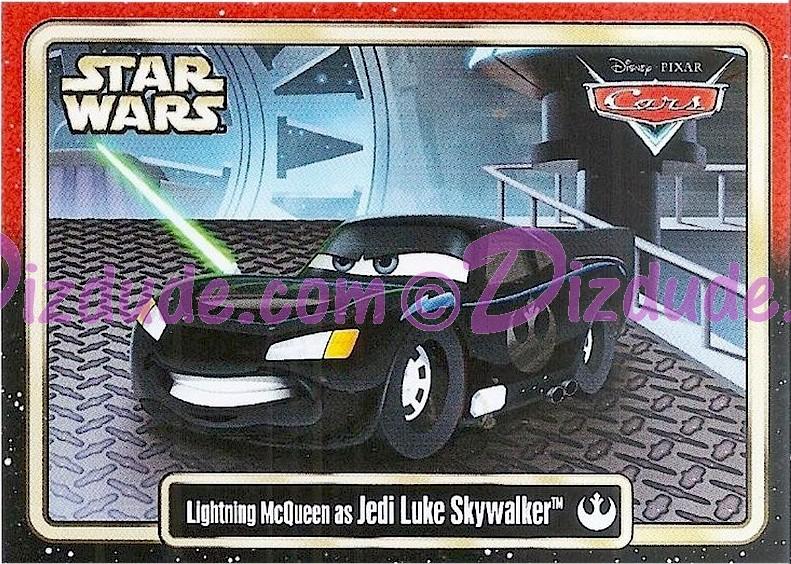 "Disney Pixar ""Cars"" as LucasFilms ""Star Wars"" Character Lightning McQueen as Jedi Luke Skywalker Trading Card Series 3 for Star Wars Weekends 2015 © Dizdude.com"