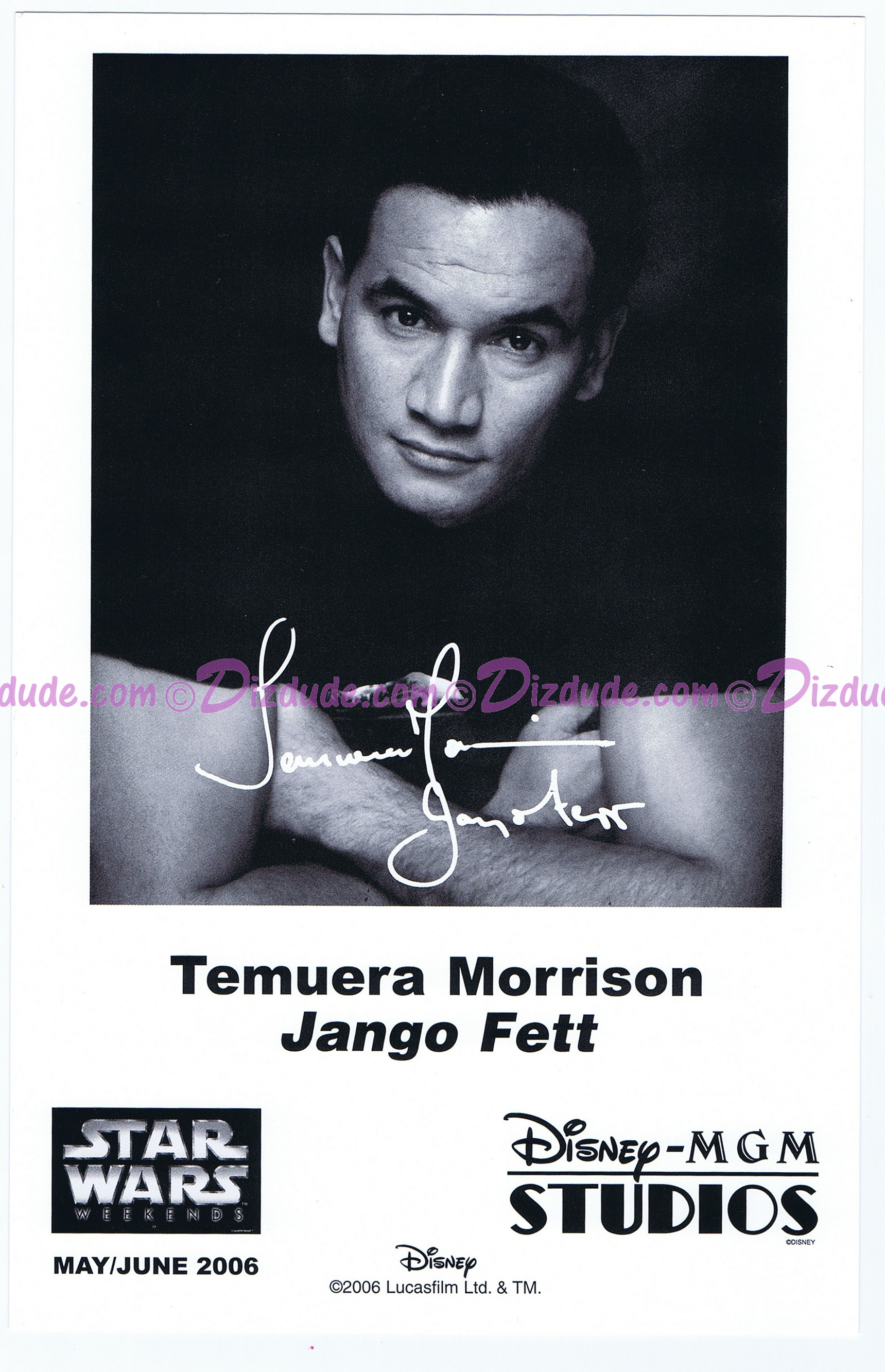 Temuera Morrison Who Played Jango Fett Presigned Official Star Wars Weekends 2006 Celebrity Collector Photo