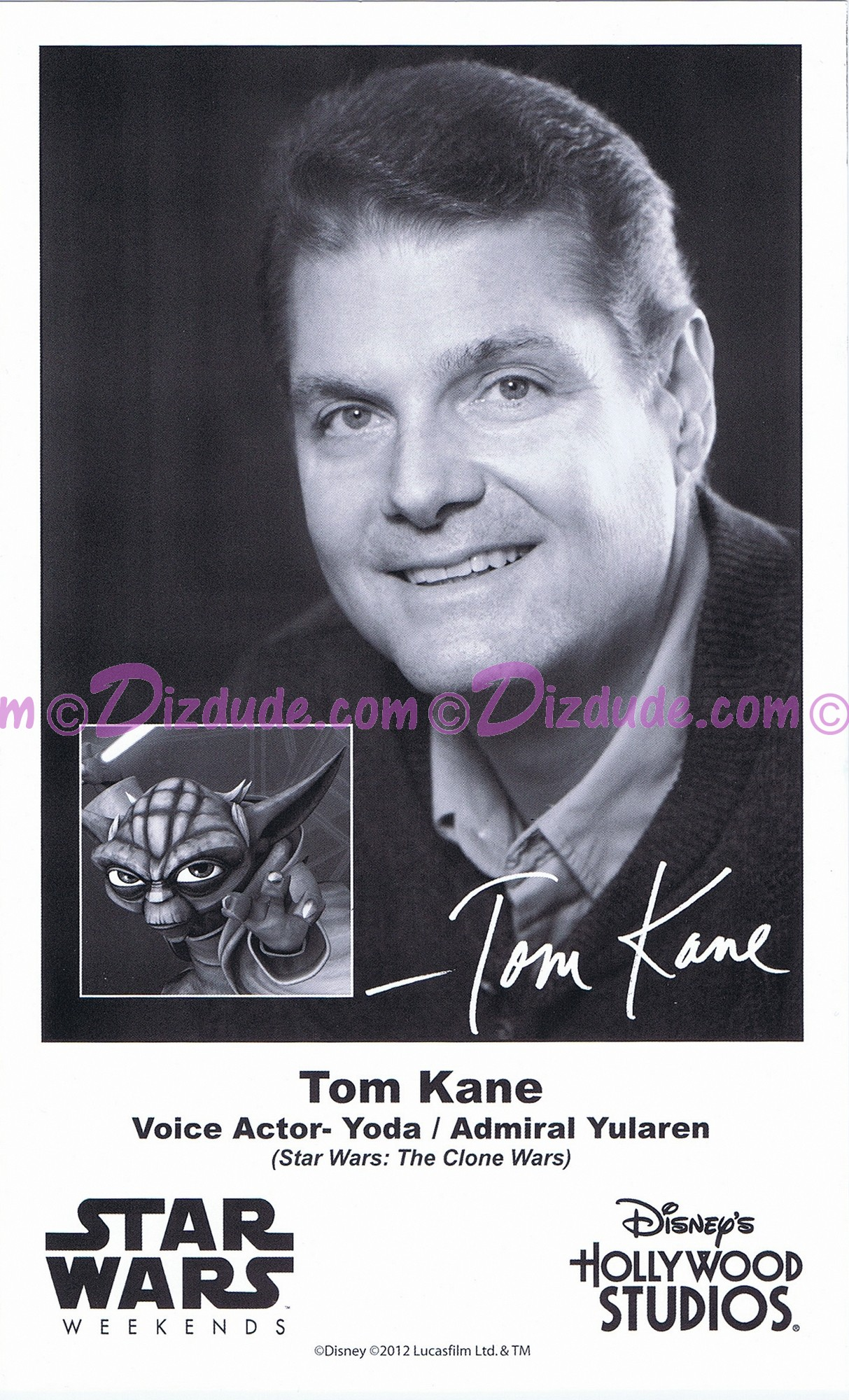 Tom Kane the voice of Yoda & Admiral Yularen Presigned Official Star Wars Weekends 2012 Celebrity Collector Photo