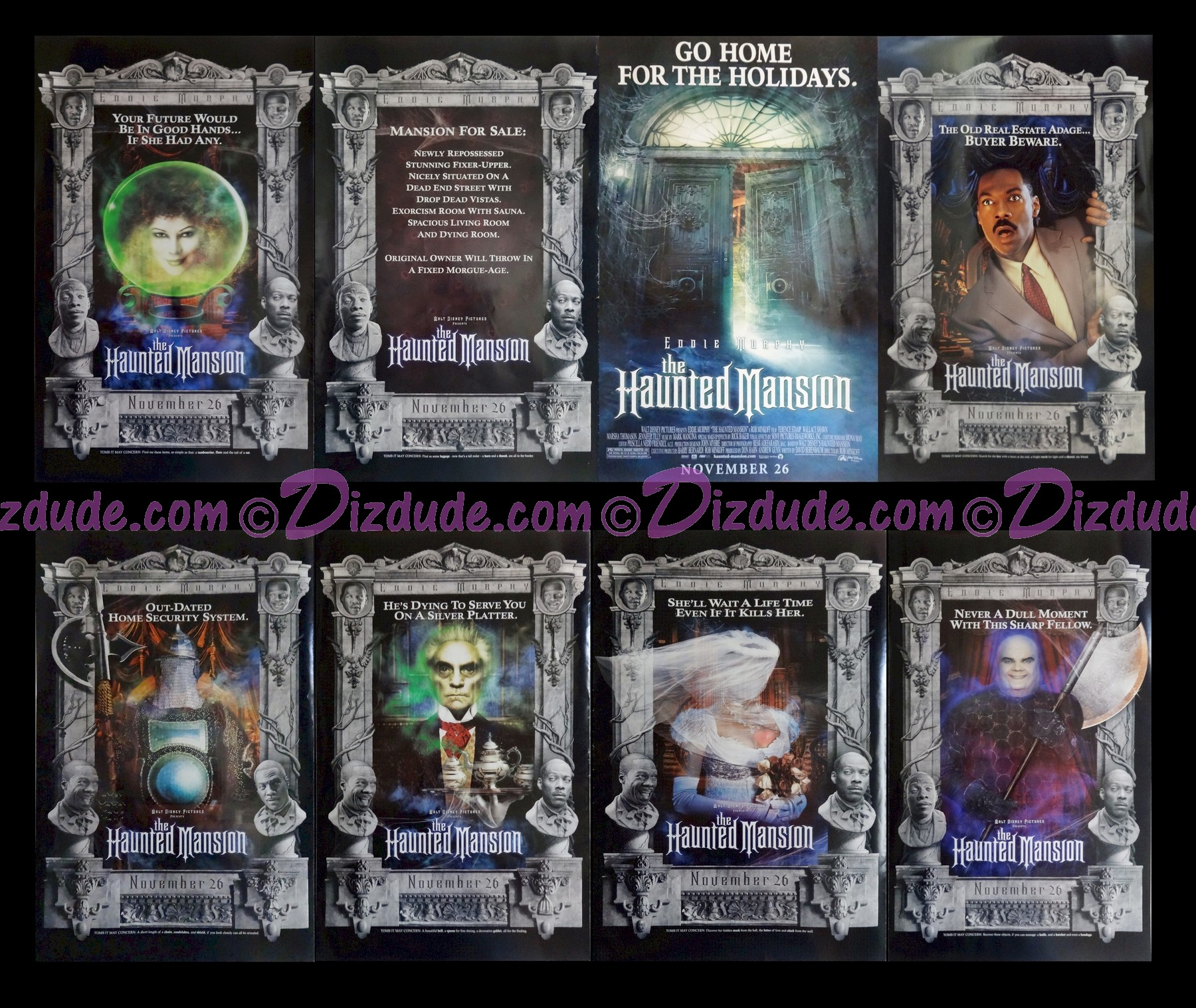 """Disney Movie Poster """"The Haunted Mansion"""" From 2003 staring Eddie Murphy, Jennifer Tilly, Terence Stamp, Nathaniel Parker and Marsha Thomason © Dizdude.com"""
