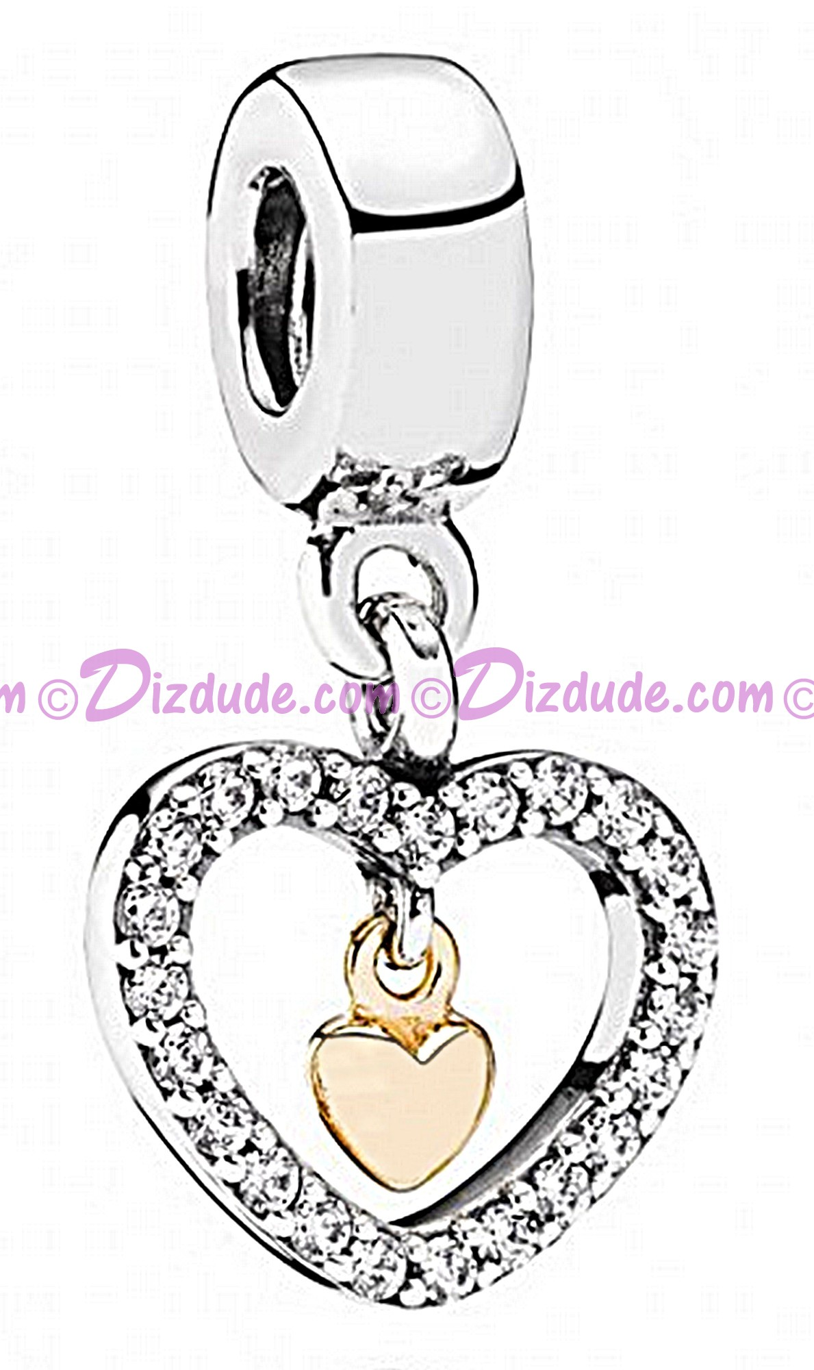 Disney Pandora Forever in My Heart Silver Dangle Charm with 14k Gold & Cubic Zirconias