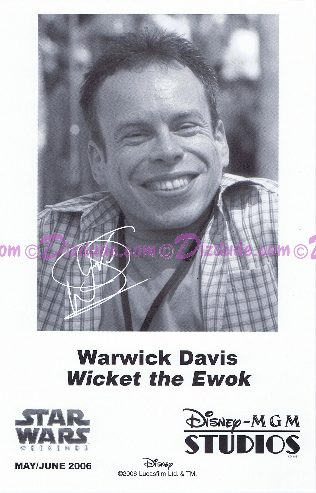 Warwick Davis who played The Ewok Wicket W. Warrick Presigned Official Star Wars Weekends 2006 Celebrity Collector Photo © Dizdude.com