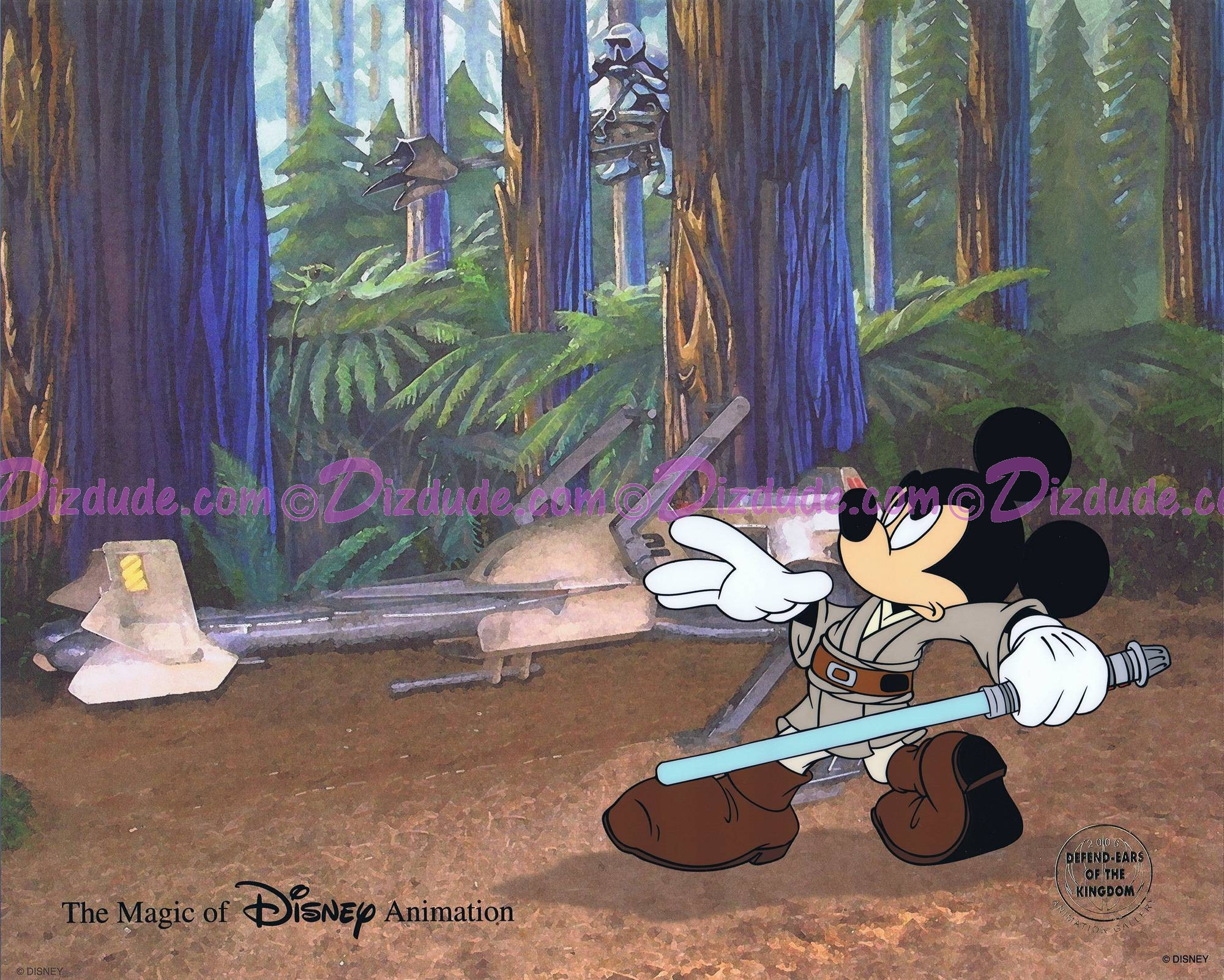 "Disney STAR WARS: ""Return of the Jedi"" JEDI MICKEY in ""Defend-Ears of the Kingdom"" hand painted Cel by Disney Animation Gallery © Dizdude.com"