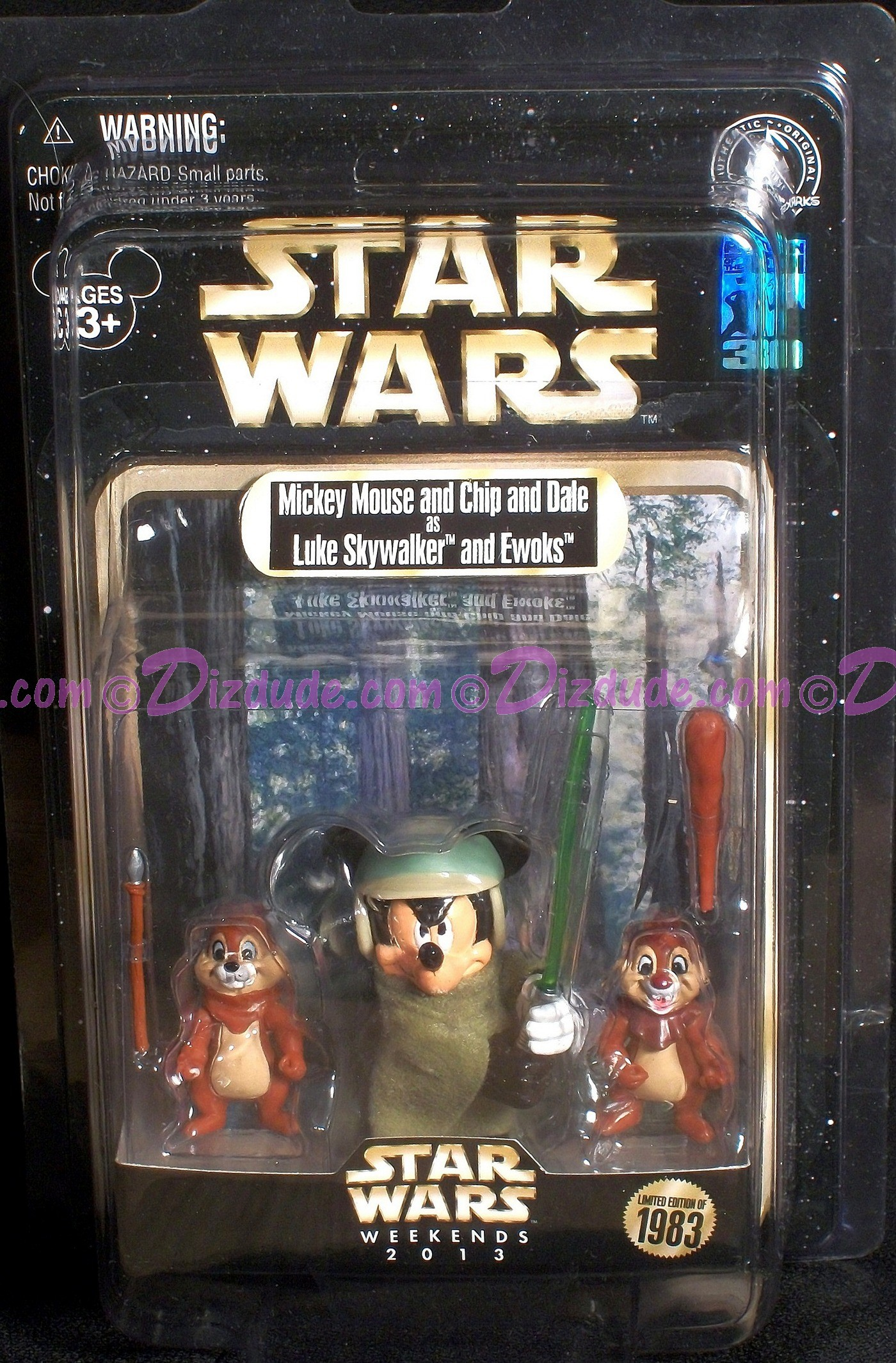 Individually numbered Star Wars Weekends Action Figure Set ~ Mickey Mouse as Luke Skywalker with Chip and Dale as Ewoks Action Figure Set Limited Edition 1983 ~ © Dizdude.com