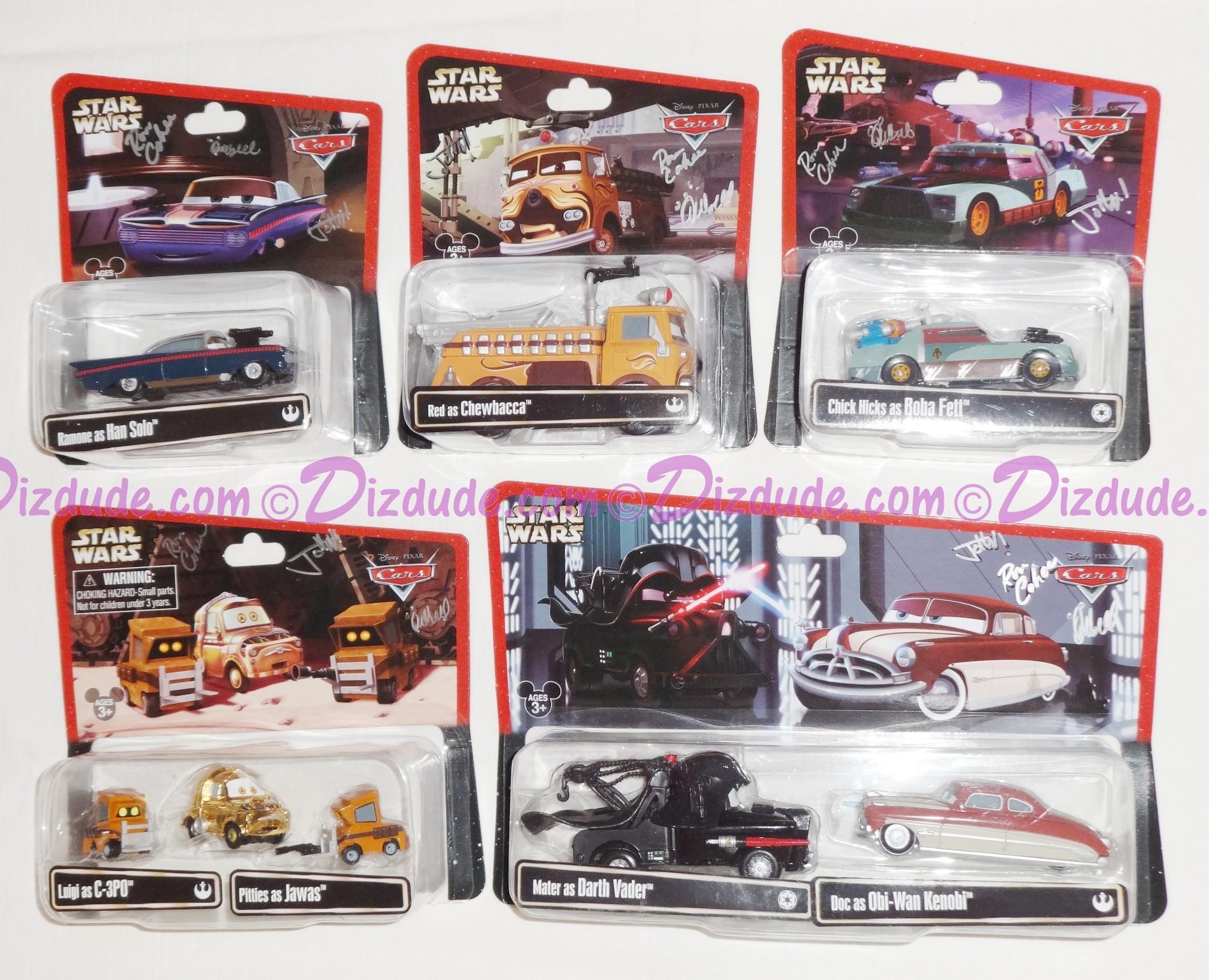"Triple Autographed Disney Pixar ""Cars"" as LucasFilms ""Star Wars"" Characters - Series 2 ~ Complete Set of 8 ~ Exclusive Star Wars Weekends 2014 © Dizdude.com"