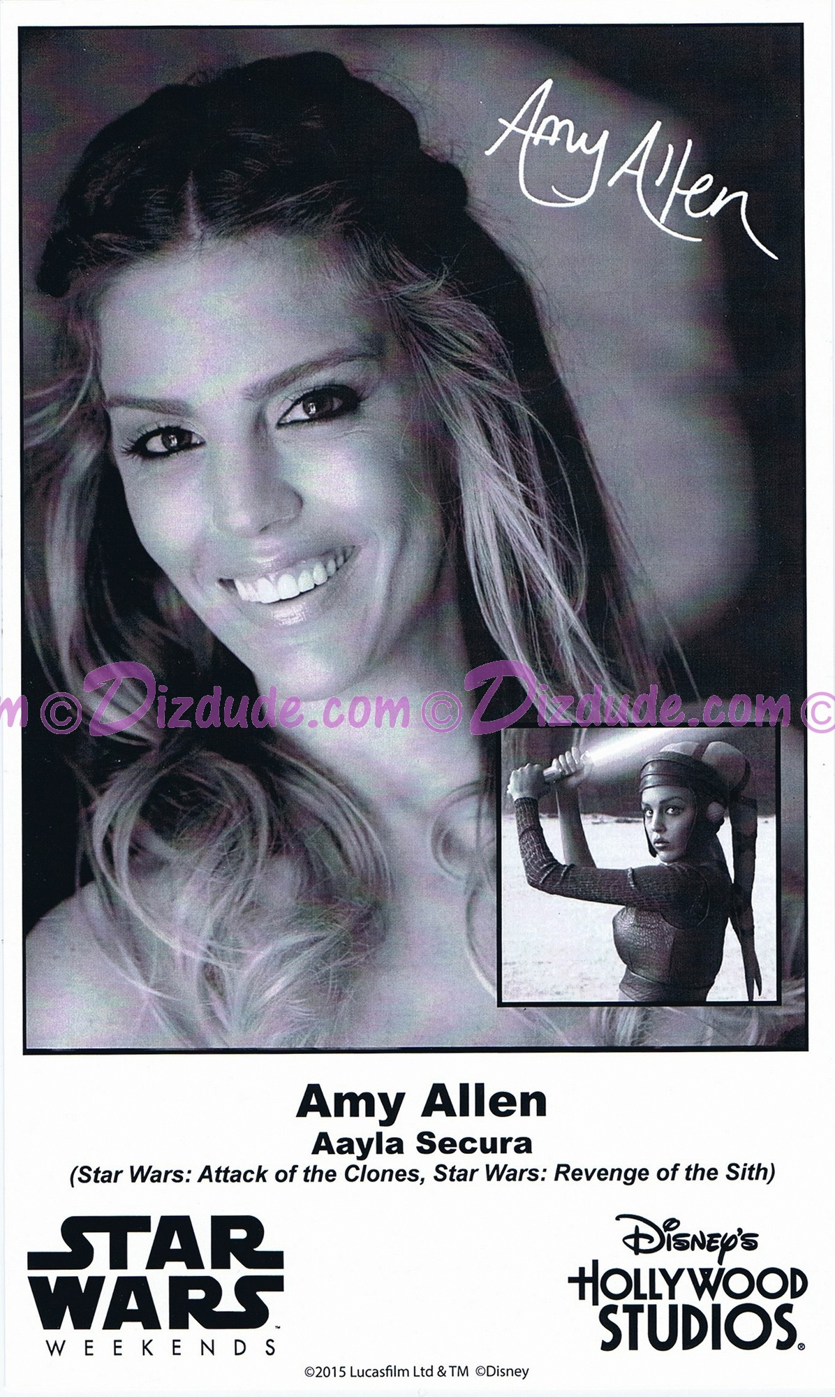 Amy Allen who played Aayla Secura Presigned Official Star Wars Weekends 2015 Celebrity Collector Photo © Dizdude.com