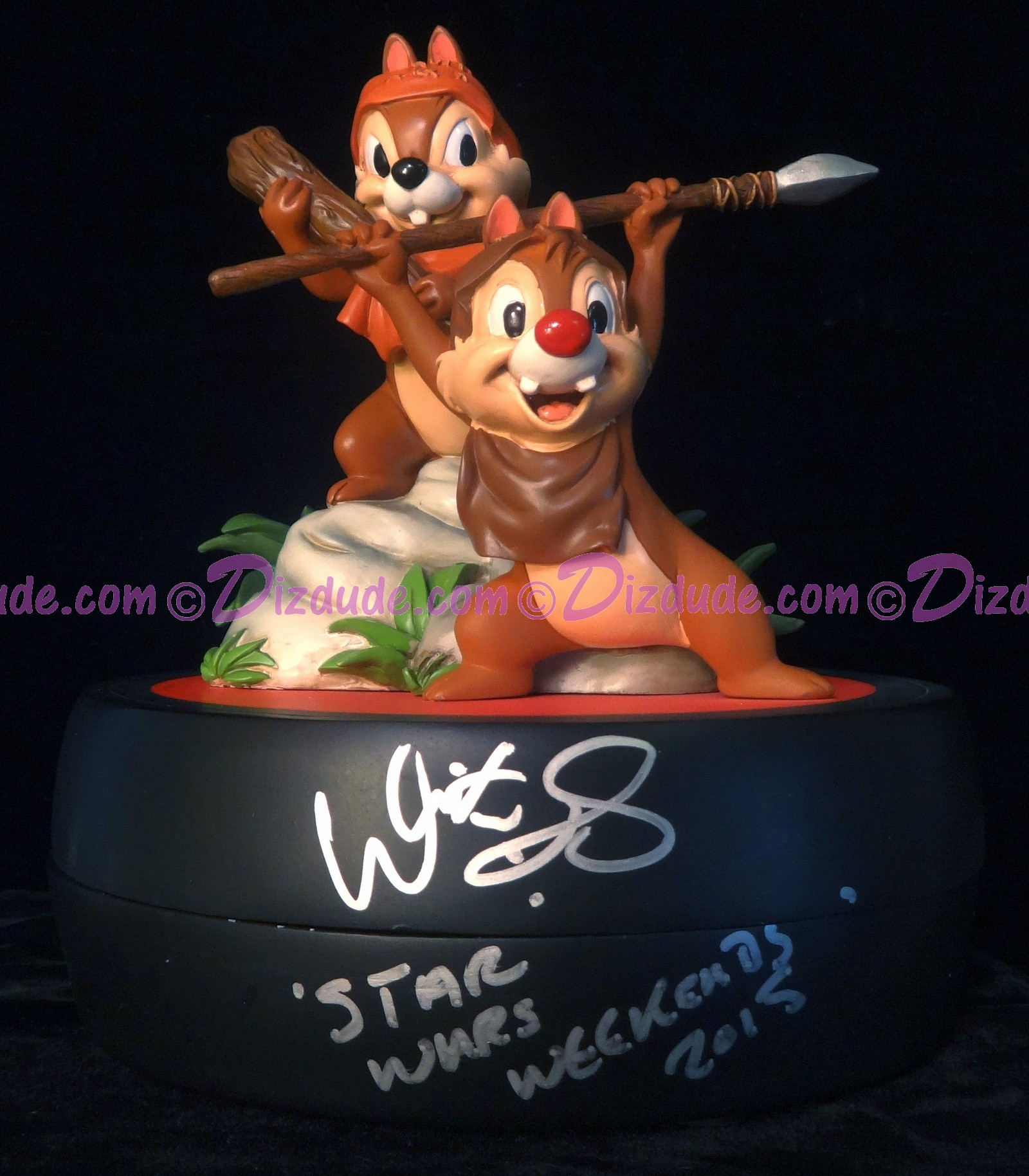 Autographed By Warwick Davis Chip 'N' Dale as Ewoks Medium Big Fig with pin LE 1977 - Star Wars Weekends © DIZDUDE.com