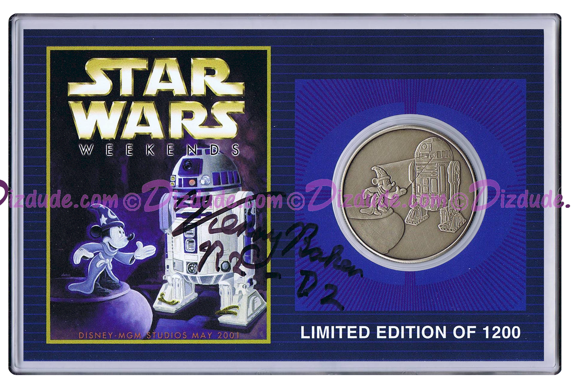 Autographed By Actor Kenny Baker Disney's Star Wars Weekends 2001 R2-D2 & Sorcerer Mickey Nickle Silver Classic Collectors Coin © Dizdude.com
