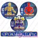 Star Wars Disney Droid Factory Button Set With C-3P0 • R2-C2 • R-3D0
