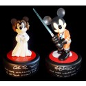 RARE Autographed Set of 1st Disney Star Wars Weekends 2011 Med. Big Figs ~ Mickey Mouse as Jedi Mickey X-Wing Pilot Signed by Matt Lanter & Minnie Mouse as Princess Leia Signed by Cath Taber - Both With Pin of LE 1977 & Signed by Costa Alavezos