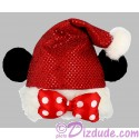 Disney Santa Minnie Mouse Ears Shimmering Plush Hat