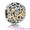 "Disney Pandora ""Believe"" 14 Karat Gold and Sterling Silver Charm"