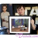 "Hand painted Cel Disney STAR WARS: ""Return of the Jedi"" Black Framed JEDI MICKEY in ""Defend-Ears of the Kingdom"" Autographed by Jake Lloyd, Ahmed Best, Matt Lanter, Warwick Davis and Disney Artist David Rippberger"