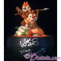 Autographed By Warwick Davis Chip 'N' Dale as Ewoks Medium Big Fig with pin LE 1977 - Disney Star Wars Weekends