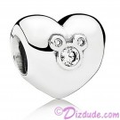"Disney Pandora ""Heart of Mickey"" Sterling Silver Charm with Cubic Zirconias"