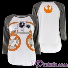 BB-8 Raglan ¾ Length Sleeve Sublimated Adult T-Shirt (Tshirt, T shirt or Tee) - Disney Star Wars The Force Awakens © Dizdude.com