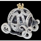 "Disney Pandora ""Cinderella's Pumpkin Coach"" 14 Karat Gold and Sterling Silver Charm set with 80 Cubic Zirconias"