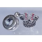 "Disney Pandora ""Minnie Sparkling Ear Hat"" Sterling Silver Charm with Cubic Zirconias - Disney World Parks Exclusive"