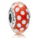"""Disney Pandora """"Minnie's Signature Look"""" Sterling Silver Charm with Red and White Murano Glass"""