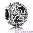 "Disney Pandora ""Mickey Silhouettes"" Sterling Silver Charm with Cubic Zirconias"